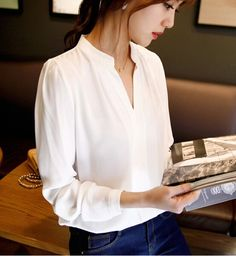 Spring Autumn Office Lady Shirt Women V-Neck Tops Long Sleeve Casual Chiffon Blouse Female Work Wear Solid Blusas Top Fashion, Fashion Women, Street Fashion, Fashion Brand, Fashion Blouses, Female Fashion, White Fashion, Fashion Ideas, Long Sleeve Tops