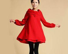 Red+wool+dress+349+by+xiaolizi+on+Etsy,+$119.00