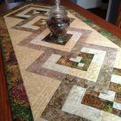 Quilted Table Runner  Batik Table Runner  by birdsongquilts