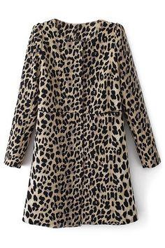 ROMWE | ROMWE Leopard Print Pocketed Long Coat, The Latest Street Fashion