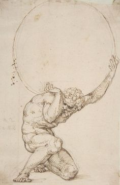 """Art Department - Crouching Figure of Atlas Baldassare Tommaso Peruzzi (Italian, Ancaiano Rome); On verso, annotated in pen and brown ink, by the hand usually identified with the """"Borghese Sagredo"""" album (Zaccaria Sagredo? Inspiration Art, Art Inspo, Art Sketches, Art Drawings, Renaissance Kunst, Portrait Renaissance, Schrift Tattoos, Arte Horror, Art Graphique"""