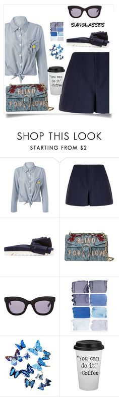 """Blind for love"" by sole-rack ❤ liked on Polyvore featuring Theory, Joshua's, Gucci and Vera Wang"