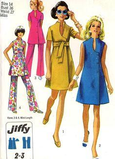 Vintage 1969 Simplicity 8278 Jiffy Dress Tunic & Pants Sewing Pattern Size 14 Bust by on Etsy fashion Moda Vintage, Vintage Mode, Vintage Outfits, Vintage Dresses, Vintage Dress Patterns, Clothing Patterns, Retro Fashion, Vintage Fashion, Patron Vintage