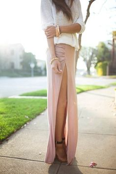 Side Slit Ruched Jersey Fitted Maxi Skirt $98