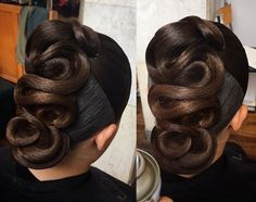 Ballroom Hairstyle - Perfectly styled hair is an important part of the overall look for ballroom dance competitors. Dance Hairstyles, Braided Hairstyles Updo, Sleek Hairstyles, Wedding Hairstyles, Celebrity Hairstyles, Vintage Hairstyles, Updos, Ballroom Dance Hair, Competition Hair