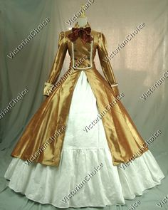 Gothic Victorian Satin Cotton Coat Dress Ball Gown Reenactment Clothing