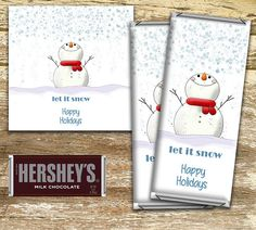 **Please read full listing details before purchase**  This item sells as a Digital PDF (non-editable) file only for DIY printing. NO PHYSICAL PRODUCT will be shipped. Instant download set includes two wrappers. To personalize your wrappers, order from the following listing. Select CW01 - Let it Snow https://www.etsy.com/ca/listing/476492160/personalized-christmas-candy-wrapper?ref=shop_home_active_1  Wrappers measure 5 1/2 in x 5 1/2 in with a 2 1/2 inch front print face and are sized to fit…