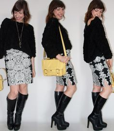 Como usar bota com saia lápis em look todo preto e branco - look do dia com saia lápis H&M, pullover American Apparel e bolsa amarela - blog de moda e estilo