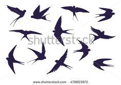 swallow silhouette set