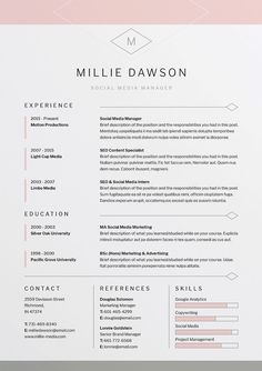 millie resumecv template word photoshop indesign professional resume design - Professional Cv Template