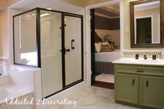 How to paint over brass shower doors... (bathroom make over)