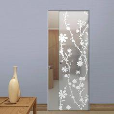 Eclisse 10mm Bluma Sandblasted Design on Clear or Satin Glass Syntesis Pocket Door.    #glassdoor  #framelessglassdoor  #pocketglassdoor