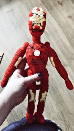 Iron Man amigurumi free pattern for you. You will easily and pleasantly do hero Marvel. You only need crochet and yarn. Crochet and share ; Tigger, Iron Man, Spiderman, Free Pattern, Superhero, Knitting, Crochet, Handmade, Amigurumi