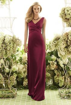 Brides.com: Designer Bridesmaids Dresses Under $200 V-neck floor-length dress, style 6550, $198, After Six  See more long, red bridesmaid dresses.  Shop this look at Weddington Way.Photo: Courtesy of After Six