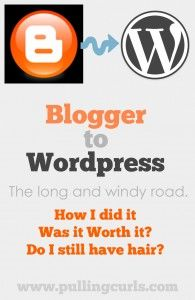 I recently did the giant task of moving to Wordpress from Blogger. It has been a journey with many bumps, and I am hopeful I 'll be glad I did it.