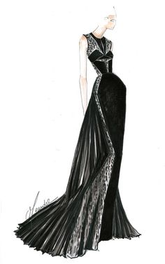 Fashion illustration - pleated black gown sketch; fashion drawing // J. Mendel