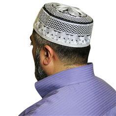 Black Cotton Blend with White Embroidery Muslim Prayer Mens Skull Cap Kufi Knit Topi