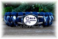 ALS Lou Gehrig's Disease Awareness Paracord Bracelet, Survival Bracelet, Mens Bracelet, Womens Bracelet, Childs Bracelet Als Lou Gehrig, Midnight Blue Color, Parachute Cord, How To Measure Yourself, 550 Paracord, Paracord Bracelets, Awareness Ribbons, Two By Two, Etsy