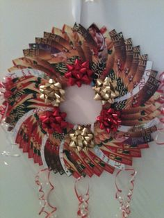 Christmas wreath I made out of cover flats from His Mistletoe Bride and my other books.