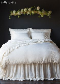 Bridal Bedding has never looked so vintage! Josephine is our new embroidery on Satin, this whole ensemble in Champagne.