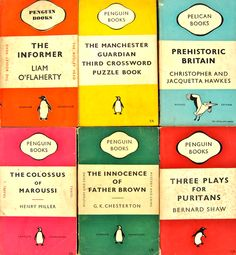 "On Penguin's book design — ""orange for general fiction, green for crime fiction, cerise for travel and adventure, dark blue for biographies, yellow for miscellaneous, red for drama; and the rarer purple for essays and belles lettres and grey for world affairs."""