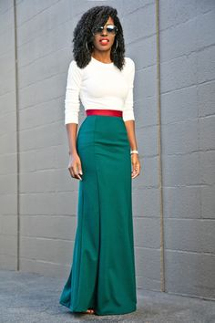 Long Sleeve Tee + Contrast Waist Maxi Skirt - - Long Sleeve Tee + Contrast Waist Maxi Skirt Style Pantry waysify Source by barbieallyson Maxi Skirt Style, Maxi Skirt Outfits, Maxi Skirts, Work Fashion, Modest Fashion, Fashion Dresses, Moda Afro, Africa Dress, Style Pantry