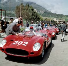 Ferrari 250 TR59/60's line up at the start of the 1959 Targa Florio.