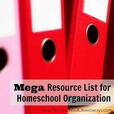 Mega Resource List for Homeschool Organization