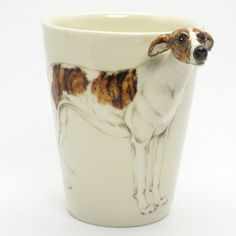 http://www.muddymood.com  Original hand sculpt and hand paint   Greyhound Dog Ceramic Mug Handmade.