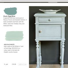 35 Ideas For Annie Sloan Painted Furniture Green Duck Eggs Annie Sloan Painted Furniture, Chalk Paint Furniture, Annie Sloan Chalk Paint, Distressed Furniture, Furniture Refinishing, Duck Egg Blue Chalk Paint, Chalk Paint Colors, Chalk Painting, Furniture Makeover