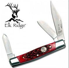 Red Textured Trapper Pocket Knife Blade Knive Handle Folding Gift Elk Ridge #ElkRidge