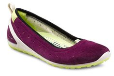 ECCO Biom Ballerina flat. Colorblocking is big this season, and the juxtaposition of the purple/lime green fits the bill.