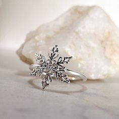 Snowflake ring Sterling Silver Winter by BarronDesignStudio