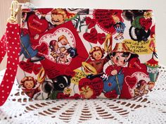 Vintage Retro Valentines Wristlet Zipper by Antiquebasketlady, $11.99