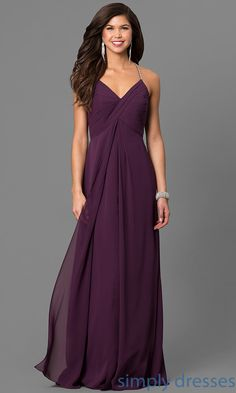 Shop eggplant purple classic prom dresses at Simply Dresses. Long chiffon formal dresses with empire waists, keyhole backs and rhinestone straps.