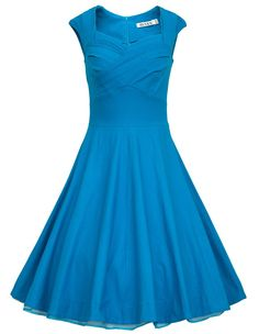 Amazon.com: MUXXN Women 1950s Retro Vintage Cap Sleeve Party Swing Dress: Clothing