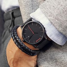 MVMT designed this watch for the dapper man with modern styling at an amazing price. This black faced watch is protected by a hardened crystal and uses a Japanese quartz three-hand movement. Accentuated by a black leather strap, this watch complements formal wear but is ready for every day use.