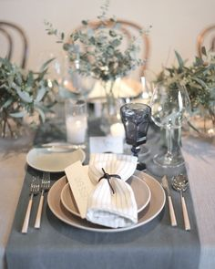 The Décor - Alison and Markus's Intimate Rainy-Day California Wedding | Grey Place Setting