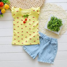 Baby Girl Cherry T-Shirt and Shorts