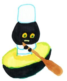 by Japanese illustrator Reiko Tada. Is it an avocado? a boat?