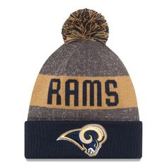 e9abee8c3 Men s Los Angeles Rams New Era Heather Gray Sideline Official Sport Knit Hat
