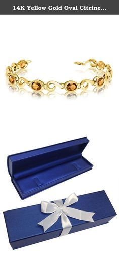 14K Yellow Gold Oval Citrine Bracelet (9 Inch Length). This 14k yellow gold oval citrine bracelet features 8 7x5 mm stunning natural citrine stones with a 5.12 ct total gem weight.