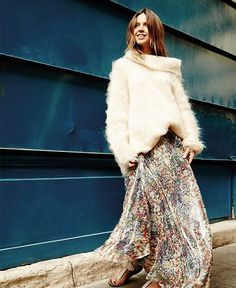 Our Bree Sweater and our Tabatha Skirt shot by Studio Marant. A Mes Demoiselles... Paris total look available in our stores. #mesdemoiselles #FW16 #collection #totallook #gold #print #skirt #silk #sweater #coldday #mesdemoisellesparis