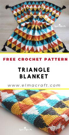 Crochet Triangle Blanket FREE Pattern - FREE Crochet baby blanket Pattern for Be.- Share a Pattern - Crochet and Knitting Pattern Crochet Stitches, Knit Crochet, Crochet Afghans, Crochet Patterns For Blankets, Free Crochet Patterns For Beginners, Crocheted Blankets, Booties Crochet, Beginner Crochet Blankets, Free Crochet Blanket Patterns