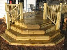 Building Deck Stairs is a set by step process of how to build deck stairs along . : Building Deck Stairs is a set by step process of how to build deck stairs along with large pictures to help you understand the process better. Cool Deck, Diy Deck, Corner Deck, Porch Stairs, Open Stairs, Outdoor Stairs, House Stairs, Deck Steps, Wood Steps