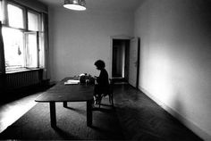 Margaret Atwood at her desk writing The Handmaid's Tale, which was nominated for the Booker Prize in 1986