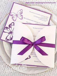 """Butterflies"" Wedding Invitation, Violet Handmade Wedding Invitations"