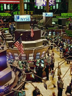 """Wall Street, New York the Trading Floor of the New York Stock Exchange in New York City""=>"