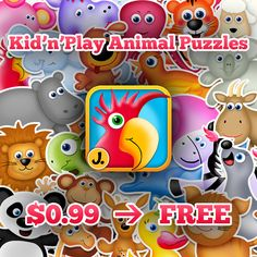It's FREE! Kid'n'Play Animal Puzzles - iPhone and iPad #kidapp https://itunes.apple.com/us/app/id522393650