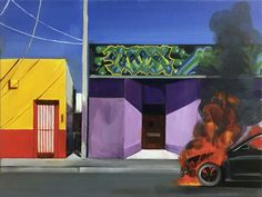 "Painting : ""Car Fire"" (Original art by Carmen Smith)"